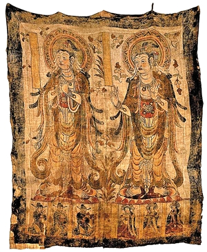日本 敦煌莫高窟/▲敦煌莫高窟藏经洞出土的北宋时代的二菩萨立像幡。